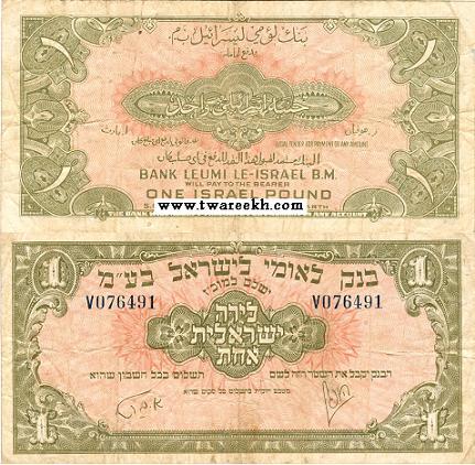 عملة ورقية فئة واحد جنيه إصدار بنك ليمو عام 1948م