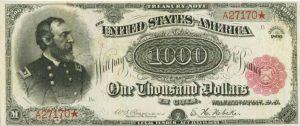 1000 دولار امريكي قديم اصدار 1890