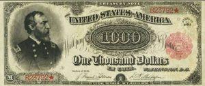 1000 دولار امريكي قديم اصدار 1891