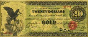 20 دولار امريكي قديم 1863